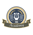 Music and arts academy badge with lyre vector image vector image