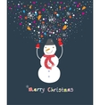 Happy cartoon christmas snowman vector image
