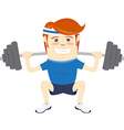 Hipster funny man squatting with barbell Flat vector image