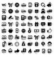 Shopping set flat black icons vector image