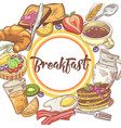 healthy breakfast hand drawn design with pancakes vector image