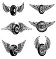set of winged car tires on white background vector image