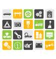 Silhouette car services and transportation icons vector image vector image