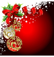 christmas balls and bow vector image vector image