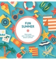 Beach Vacation Flat Poster vector image