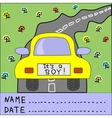 Children s background with car and words It s a vector image
