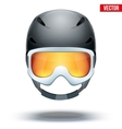Front view of Classic black Ski helmet and vector image