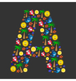 The English letter A with a cheerful pattern vector image