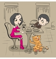 Loving couple in cafe at table and funny cat vector image