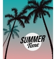 Palm trees and blue pink sunset vector image