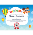 Elementary school Kid Diploma certificate template vector image