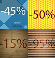50 15 95 icon Set of percent discount on abstract vector image