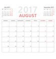calendar planner 2017 august week starts monday vector image