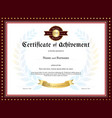 Elegant certificate of achievement template vector image