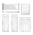 set of transparent and white blank foil bag vector image