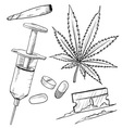 doodle drugs pot joint pills needle coke vector image vector image