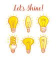 Light bulb and led lamp set of lightbulbs vector image