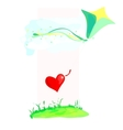 Colorful kite flying with a heart in the sky vector image vector image