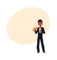 black african businessman eating sandwich holding vector image