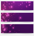 Bright glittering sparkle flare headers set vector image