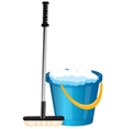 Pail and mop vector image
