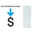 Income Dollar Icon with Flat Set vector image