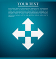 arrows in four directions icon on blue background vector image