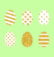 set of golden easter eggs vector image
