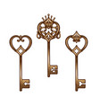 vintage heart shaped bronze antique skeleton keys vector image