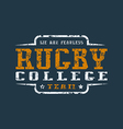 College rugby team emblem with shabby texture vector image