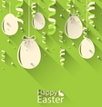 Happy Easter Green Background with Eggs and vector image vector image