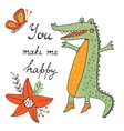 You make me happy Cute hand drawn card with vector image
