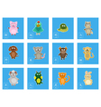 color icon set with chinese zodiac signs vector image