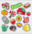 farm agriculture doodle with tractor natural food vector image