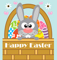 happy easter background card with rabbit vector image