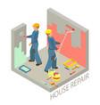 isometric interior repairs concept two decorators vector image