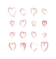 Set of pink hand drawn hearts on white vector image