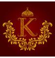 Patterned golden letter K monogram in vintage vector image