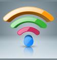 3d wi-fi icon foou color vector image
