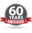 Celebrating 60 years anniversary retro label with vector image