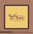 discount coupon with scissors symbol icon vector image