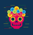 day of the dead skull with floral ornament blue vector image