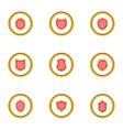 emblem icons set cartoon style vector image