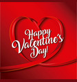 happy valentines day card ribbon shaped heart love vector image
