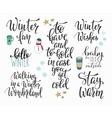 Hello Winter season typography set vector image
