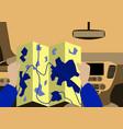 Inside car road map vector image