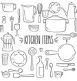 kitchen items outline vector image