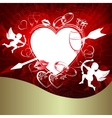 Red background with heart and arrow vector image