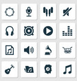 audio icons set collection of equalizer file vector image