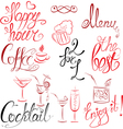 Set of hand written text Happy Hour Menu Coffee Co vector image vector image